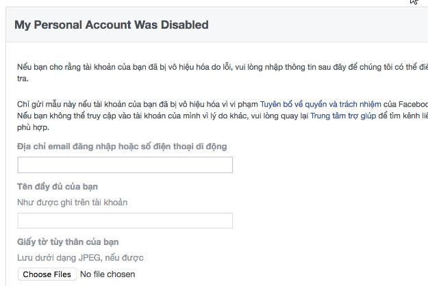 Mở facebook khi bi vô hiệu hóa