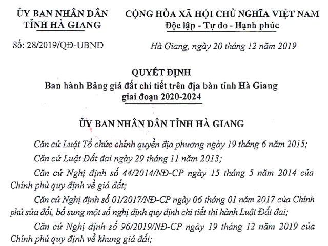 Bảng giá đất UBND tỉnh Hà Giang giai đoạn 2020 đến 2024.